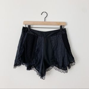 Free People Black Blue Lace Swiss Dot Shorts Comfy